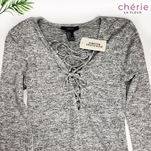 Forever 21 | *NWT* Grey Lace Up Knit Bodysuit - Sm